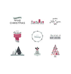 merry christmas- and icons lettering vector image vector image
