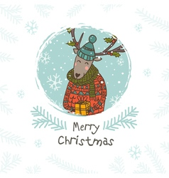 Merry christmas deer with gift vector