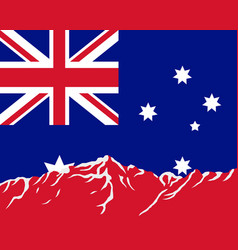 mountains with flag of australia vector image vector image
