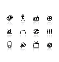 Perfect icons for media and sound vector image