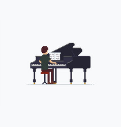 pixel art grand piano vector image