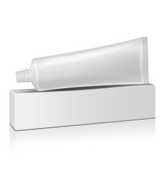 plastic tube with white box for medicine or vector image