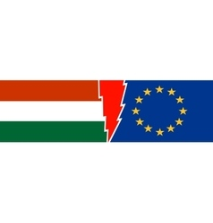 Politic relationship european union and hungary vector