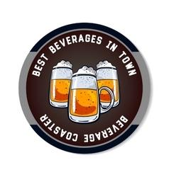 Round beverage coaster color vector