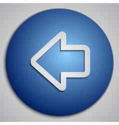 Round blue left arrow button made as paper cut vector