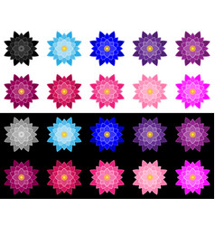 set of lotuses performed a stroke and fills vector image