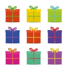 set of nine different colorful gift boxes for the vector image