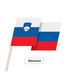 Slovenia ribbon waving flag isolated on white vector