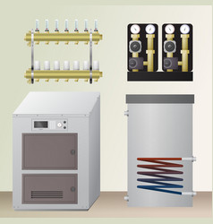 Solid fuel boiler in the room vector