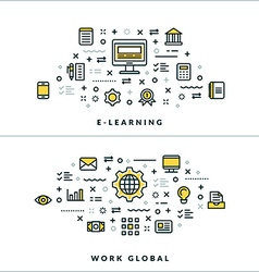 Thin Line E-learning and Work Global Concepts for vector image vector image