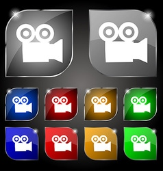 video camera icon sign Set of ten colorful buttons vector image