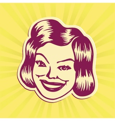 Vintage mid-century smiling woman face vector
