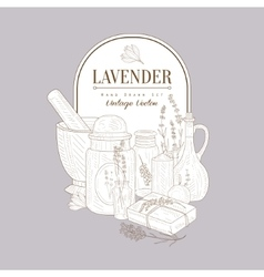 Vintage Sketch With Lavender Products Set vector image
