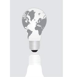 World map inside light bulb vector