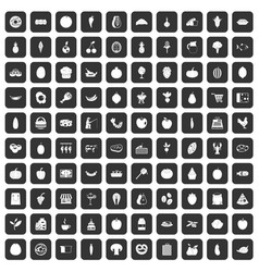 100 natural products icons set black vector