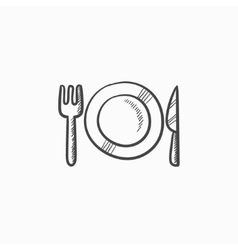 Plate with cutlery sketch icon vector image