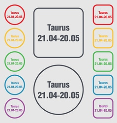 Taurus icon sign symbol on the round and square vector