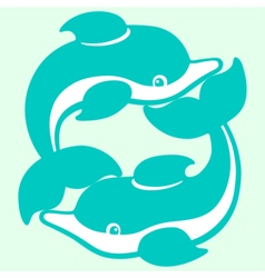 Playing dolphins cartoon drawing vector
