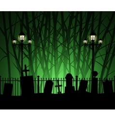 Graveyard cemetery tomb in forest and street lamp vector