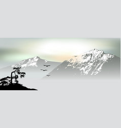 mountain view with flying birds during sunrise vector image