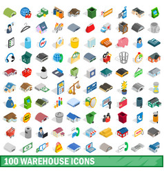 100 warehouse icons set isometric 3d style vector