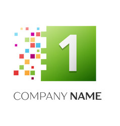 number one symbol in the colorful square vector image