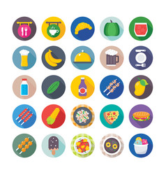 food flat icons 7 vector image