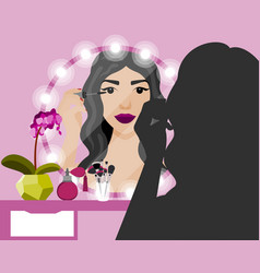 with girl doing makeup vector image