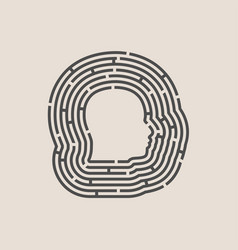 Man avatar in circular maze vector