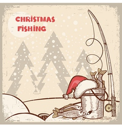 successful fishing in Christmas holiday winter vector image