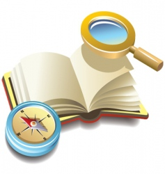 Book with compass and magnifier vector