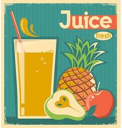 fresh fruit juice vintage card vector image