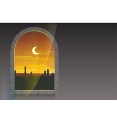 Month of ramadan moon over minarets template vector