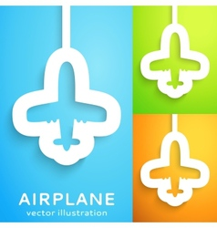 Air plane cut out of paper on color background vector image vector image