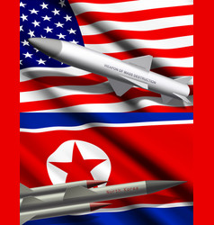 american and north korean missiles on flags vector image