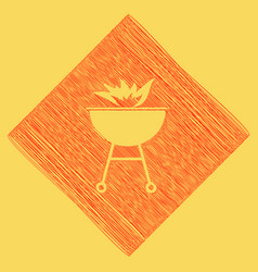 Barbecue with fire sign red scribble icon vector