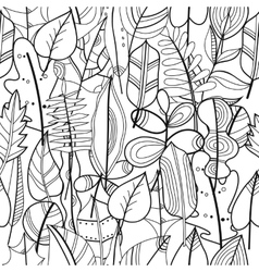 Black and white seamless pattern with leaves for vector
