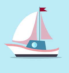 boat with sails in white-pink color isolated on vector image