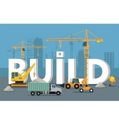 Build Banner Concept in Flat Style Modern Building vector image