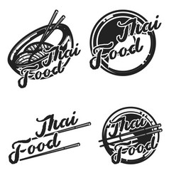Color vintage thai food emblems vector