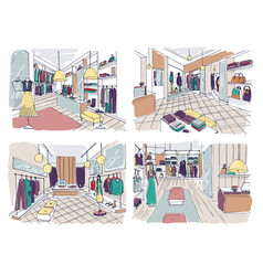 colorful drawings of clothing boutique interior vector image