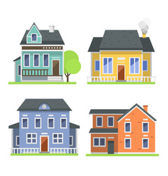 cute colorful flat style house village symbol real vector image vector image
