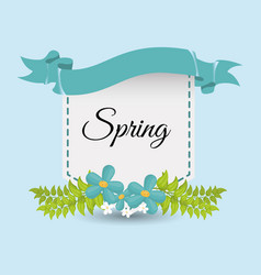 Cute spring card flower and ribbo vector