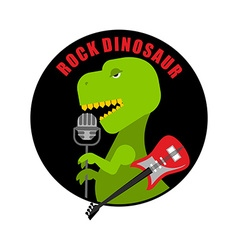 Emblem of rock dinosaur Logo for old fans of rock vector image vector image
