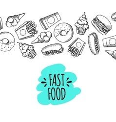 Fast food Set of cartoon background vector image