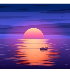 Fishing boat sunset background concept vector image vector image