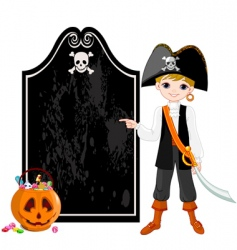 halloween pirate pointing vector image vector image