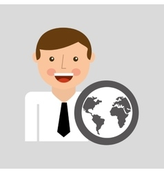 Happy man icon global social network design vector