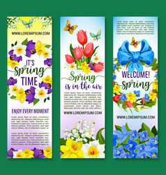 hello spring floral banners set vector image vector image