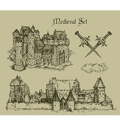 medieval castles vector image vector image